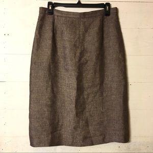 MaxMara Marled Tweed Neutral Pencil Skirt
